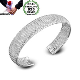925 silver mesh chain NZ - OMHXZJ Wholesale Personality Fashion Unisex Party Wedding Gift Silver Mesh Open 925 Sterling Silver Cuff Bangle Bracelet BR167