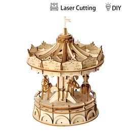 3d wood kits Australia - wholesale 3D Wooden Merry-Go-Round TG404 Puzzle Game Gift for Children Kid Friend Nice Decor Model Building Kits Popular Toy