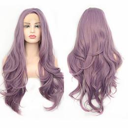 Purple Body Wave Wigs Australia - Sweetheart 26inch Long Body Wave Lace Front Wig Purple Color Synthetic Wigs 180% Density Glueless Swiss Lace Wavy Wigs For Black Women