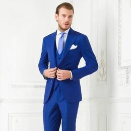 Wholesale pinstripe suit man for sale - Group buy 2019 Classy Blue Wedding Mens Suits Slim Fit Bridegroom Tuxedos For Men Three Pieces Groomsmen Suit Formal Business Jackets With Vest