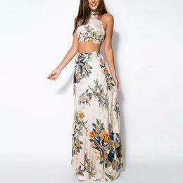 $enCountryForm.capitalKeyWord Canada - 2 Piece Fashion Summer Women Dress Set Crop Tops Bodycon+long Maxi Skirt Party Floral Beach Dresses