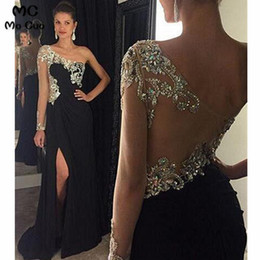 one sleeve evening dresses Australia - 2019 One Shoulder Evening Dresses Long With Crystals Beaded Long Sleeves Front Slit Chiffon Evening Party Dress For Women SH190828