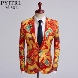chinese costumes men Canada - PYJTRL Tide Men Chinese Style Red Gold Dragon Design Casual Suit Jacket Plus Size Singer Costume Wedding Groom Prom Party Blazer