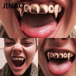 JINAO Gold Color Plated Hip Hop Teeth Grills Caps Hollow Heart Square Top&Bottom vampire teeth Grillz Set for Christmas Party on Sale