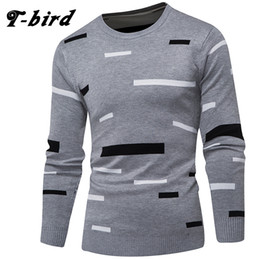 Wholesale knit sweater bird resale online - T Bird Brand Clothing Men Sweater Simple Block Fashion O Neck Slim Fit Male Casual Pullover Men Sweaters Knitting Mens XXXL