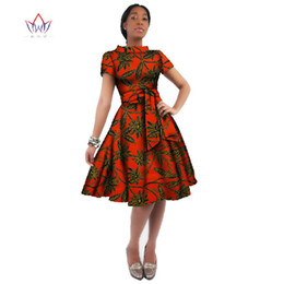 Knee length dresses for office online shopping - Africa Dress For Women African Wax Print Dresses Dashiki Plus Size Africa Style Clothing For Women Office Dress Wy082 J190511