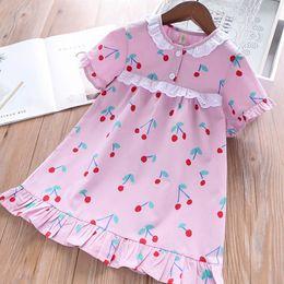 Little Girls Dresses Ruffles Wholesale Australia - Girls Cherry Short Sleeves Dresses Summer 2019 Kids Boutique Clothing 2-7T Little Girls Cotton Ruffle Hem Dresses High Quality
