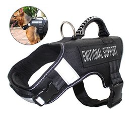 reflective vest led UK - Fml Pet Harness Reflective Adjustable Service Dog Harnesses Vest Pet Accessories Nylon Training Dog Collar Vest With Handle