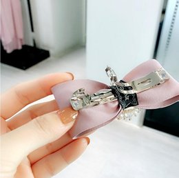 Korea pinK diamond online shopping - 2018 Dongdaemun hair accessories imported leather hairpin Korea autumn and winter new bow crystal spring clip ponytail clip top clip