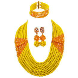 $enCountryForm.capitalKeyWord Australia - Opaque Yellow Champagne Gold AB African Necklace Jewelry Set Crystal Beaded Nigerian Beads Wedding Jewelry Sets 8LBJZ07