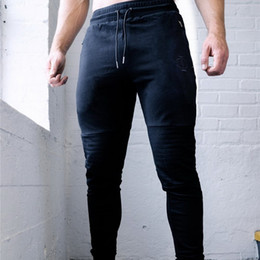 Muscle Print Pants Australia - 2019 New gym Spring and autumn new men's sports pants muscle fitness brothers slim outdoor fitness running training pants