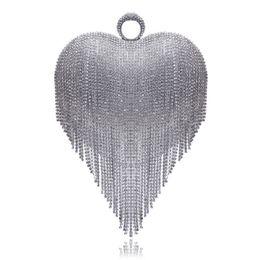 $enCountryForm.capitalKeyWord NZ - Heart Design Tassel Rhinestones Women Clutches Crystal Finger Ring Chain Shoulder Handbags For Party Wedding Bridal Purse #172985