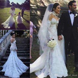 $enCountryForm.capitalKeyWord UK - 2019 Bohemian Plus Size Long Sleeve Country Lace Mermaid Wedding Dresses Bridal Gowns Robe De Mariee Vestidos De Nnovia Custom with Big Bow