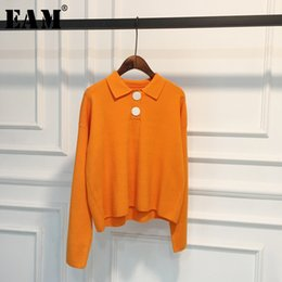spring orange NZ - [EAM] Orange Button Knitting Sweater Loose Fit Lapel Long Sleeve Women Pullovers New Fashion Tide Spring Autumn 2020 1X359