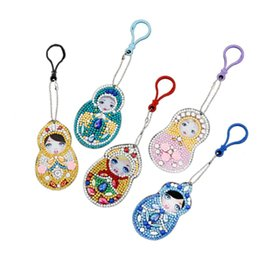 Decor Ornament Australia - 5Pcs Set Fashion Shiny Rhinestone DIY Girl Lovely Painting Key Chain Ring Pendant Bag Ornament Keys Holder for Decor Gift