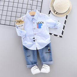 blouse baby collar 2019 - Casual Toddler Boys Clothes Autumn Clothing Kids Costume Baby Long Sleeve Print Blouse Tops+Denim Pants Trouser Children