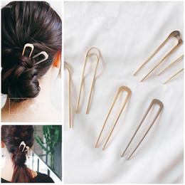 Metal U Shaped Hair Clip Australia - AOMU Japan Simple U shape Hair Clips for Women Girls Shell Metal Gold Color Hair Clip Fashion Jewelry Accessories