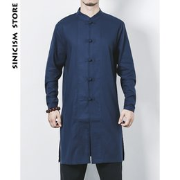 Traditional Linens Australia - Sinicism Store New Mens Cotton Linen Long Shirts Long Sleeve Shirts Stand Collar Chinese Traditional Clothes Male Shirt Costume