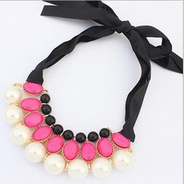 China fashion blaCk laCe dress online shopping - Kids Necklace Fashion Pearl Lace up Rhinestones Necklace for Girls Princess Clavicle Necklace Children Dress Jewelry Accessory