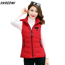 Wholesale snow coats for women for sale - Group buy SWREDMI Vest For Winter Women Hooded Warm Vest Women Coat Jacket Outerwear Sleeveless Thick Short Waistcoat Snow Wear LY191216