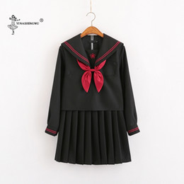 Wholesale school uniforms clothing resale online - Japanese School Uniforms Anime COS Sailor Suit JK Navy Style Students Clothes for Girl Short long Sleeve Japanese Korean Sailor