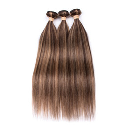 China Piano Color Indian Human Hair Bundles Silky Straight #4 27 Brown Highlight Mixed with Honey Blonde Piano Color Human Hair Weft Extensions cheap hair colors highlights suppliers