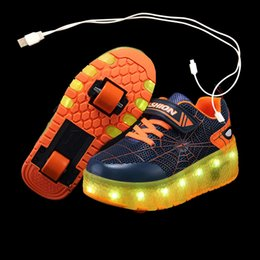 wheel boys shoes Canada - 2021 New 28-40 USB Charging Children Sneakers With 2 Wheels Girls Boys Led Shoes Kids Sneakers With Wheels Roller Skate Shoes