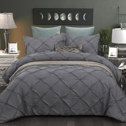 grey white bedding NZ - BEST.WENSD grey Duvet Cover Pinch Pleat Brief Bedding Set Queen King 3pc BedLinen set Comforter Cover With Pillowcase