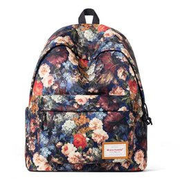 Ladies Laptop rucksack online shopping - Fashion New Women Girls Floral Print Laptop Backpack Lady Travel Multifunction Shoulder Shool Bookbag Rucksack Casual Daypack