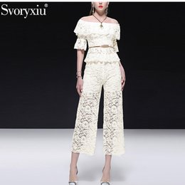elegant white pant suits Canada - Svoryxiu Runway Summer Elegant White Lace Pants Suits Women's Sexy Slash Neck Tops + Pants Fashion Office Lady Two Piece Set
