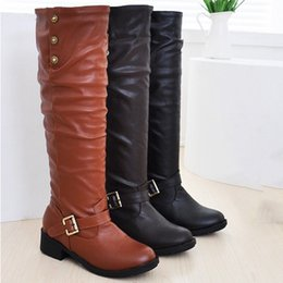 $enCountryForm.capitalKeyWord Australia - Women Boots Ladies Retro Low-heeled Shoes Buckle Add Cotton Long Tube Knight Boots PU Leather Fashion Female Warm Shoes M50#
