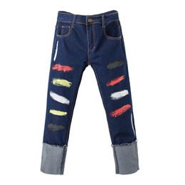 $enCountryForm.capitalKeyWord UK - Women's ankle length roll up hem colored painted crop jeans Plus size denim jeans