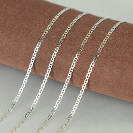 Sterling Silver Chains Women Australia - Real 925 Sterling Silver Flat De Gaulle Chain Necklace for Women Men Girls Boys Fashion Sterling Silver Jewelry kolye collares