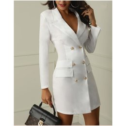 $enCountryForm.capitalKeyWord Australia - New fashion dresses dress women black white V-neck button Blazer Suit sexy winter party mini bodycon plus size dress dresses