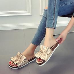Low Wedge Heel Grey Shoes Australia - Flower Leather Slippers Cork Sandals Low Female Summer 2019 Wedge Heel Ladies Slides New Spring Shoes Rome PU Basic Wedges