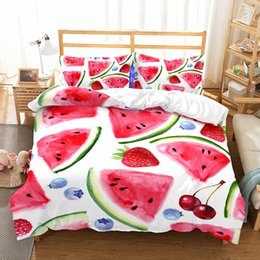 Yellow White Bedding Sets Australia - Fruit Bedding Set Quilt Cover Queen Full King Size Children Cartoon Duvet Cover Set Yellow and White Bedclothes 3pcs G $