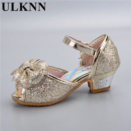 bow fish shoes 2019 - Children's Shoes Crystal Bow Shiny High Heels Princess Shoes Hot Sale New Girls Fish Mouth Sandals High Heel Shoes
