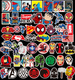 Wholesale Car Stickers NZ - 50Pcs Lot Marvel Anime Classic Stickers Toy For Laptop Skateboard Luggage Decal Decor Funny Iron Man Spiderman Stickers For Kids Car sticker