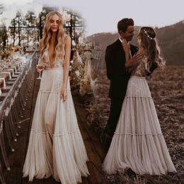 $enCountryForm.capitalKeyWord Australia - Real Photo Country Wedding Dresses 2019 Deep V-Neck Lace Applique Whimsical Boho Dreamy Bridal Gowns Sexy Beach Vestido De Noiva