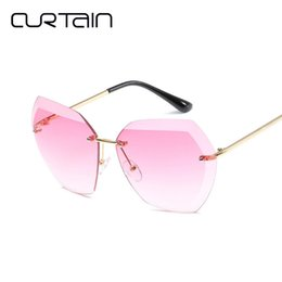 stylish sunglasses for men 2019 - CURTAIN Shades for Women Stylish Sunglasses Fashion Cuts New Borderless Sunglasses Women Outdoor Goggles Party Oculos De