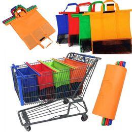$enCountryForm.capitalKeyWord Australia - 4pcs Set Thicken Cart Trolley Supermarket Shopping Bags Male Female Foldable Reusable Eco-Friendly Shop Handbag Totes for Women & Mummy