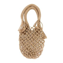 Wholesale BEAU New Pocket Straw Hand Woven Bag Cotton Handbag Vacation Fashion Beach Women Bag Tote Handmade Braided Rattan Hollow Out B