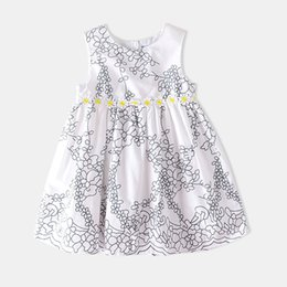 Wholesale 2019 summer fashion style princess dress new European and American cotton girls flower print cute dress