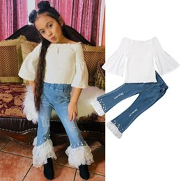 kids off white t shirts 2019 - 2PCS Sweet Kids Baby Girls Clothes Sets 1-6Y White Off Shoulder T Shirt +Pearl Jeans Pants Outfits Clothes cheap kids of