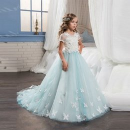 image girl flower butterfly NZ - New Light Blue Flower Girl Dresses With Butterfly Short Sleeves Ball Gown O-Neck First Girls Communion Gown Girls Pageant Dress