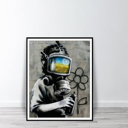 print large pictures NZ - BANKSY Canvas Sunflower Field Mask Wall Art Painting Street Graffiti Printable Painting Home Decor Large Picture For Living Room 191003