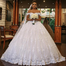 short ball gown wedding dresses sleeves Australia - Elegant Arabic Dubai Ball Gown Wedding Dress 2019 Short Sleeves Lace Appliques Bridal Gowns trouwjurk Robe De Mariee Mariage