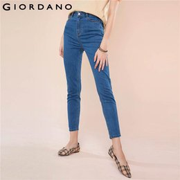 Wholesale Giordano Women Denim Jeans Women High Rise Slim Fit Ankle length Denim Pants Zip Fly Button Front Slim Cutting Jeans Femme