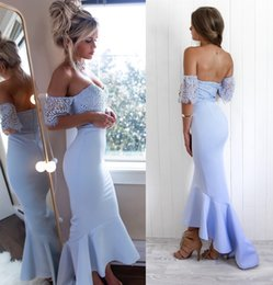 $enCountryForm.capitalKeyWord Australia - Chic Baby Blue Mermaid Bridesmaid Dresses Prom 2020 Off The Shoulder Short Sleeves Lace Satin Tea Length Evening Party Cocktail Dress Cheap