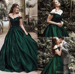 38ea605d025 2019 Elegant Women A-Line Off Shoulder Mermaid Long Lace Muslim Evening  Dresses Green Corset Back Vestido De Festa Satin Prom Gowns
